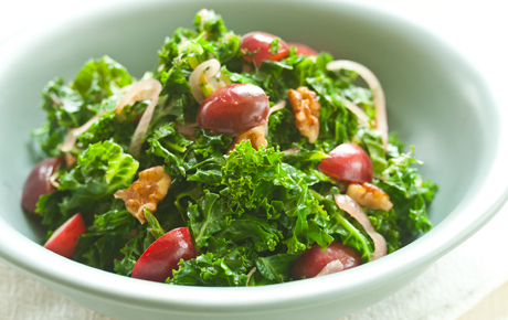 wilted kale with cherries
