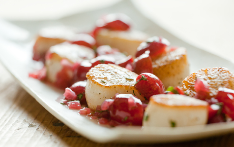 scallops with cherry-tarragon sauce