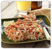 coconut rice and grilled shrimp